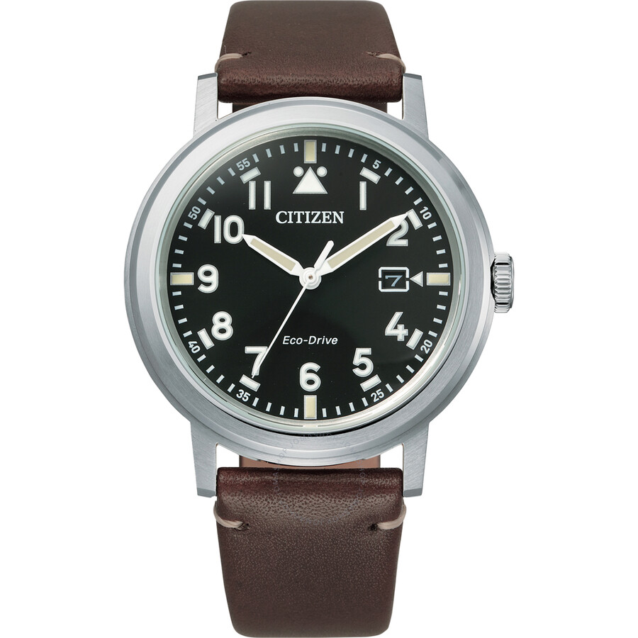 Citizen Eco-Drive Black Dial Brown Leather Mens Watch AW1620-21E