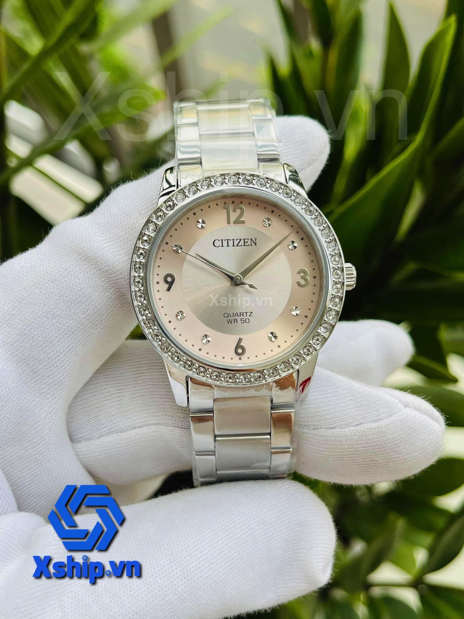 Citizen Quartz Crystal Pink Dial Ladies Watch EL3090-81X