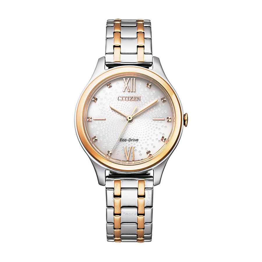 Citizen Eco-Drive Ivory Dial Two tone Ladies Watch EM0506-77A