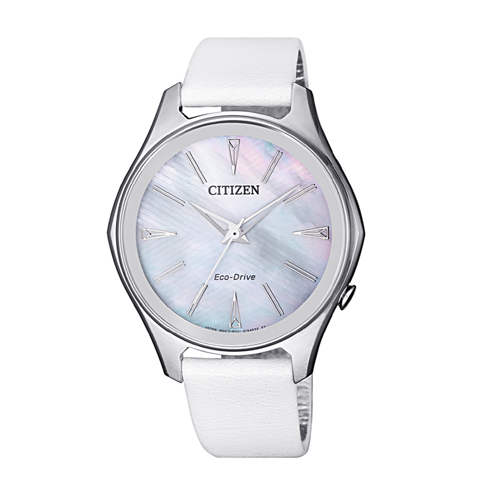 Citizen Womens White Dial Leather Band Eco-Drive Watch EM0597-12D
